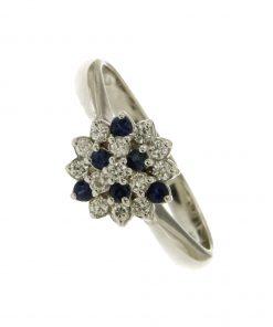 anello con pavè di diamanti zaffiri n388