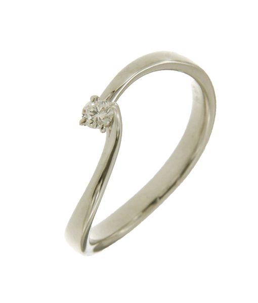 anello solitario in oro bianco con diamante n420