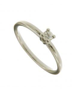 anello solitario in oro bianco con diamante n421