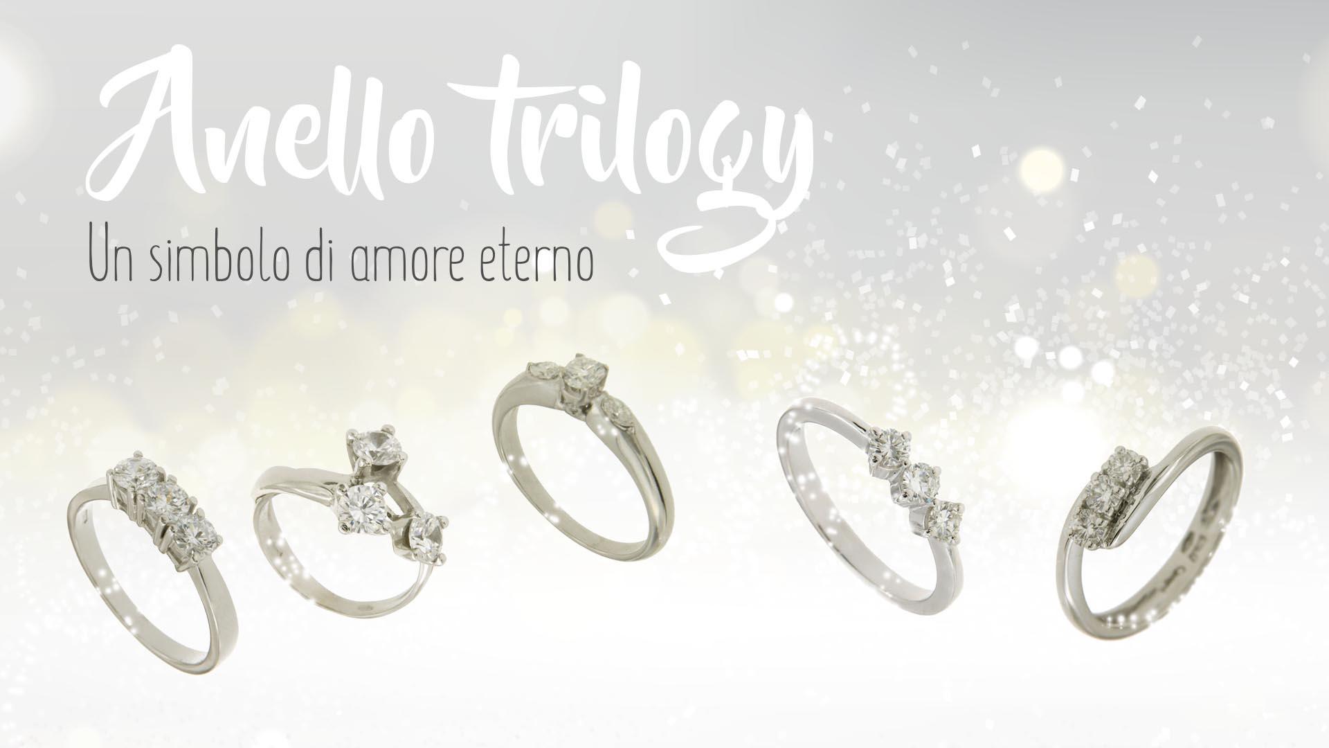 Vari tipi di anello trilogy presenti sul catalogo de Il Bello del Lusso su fondo argentato