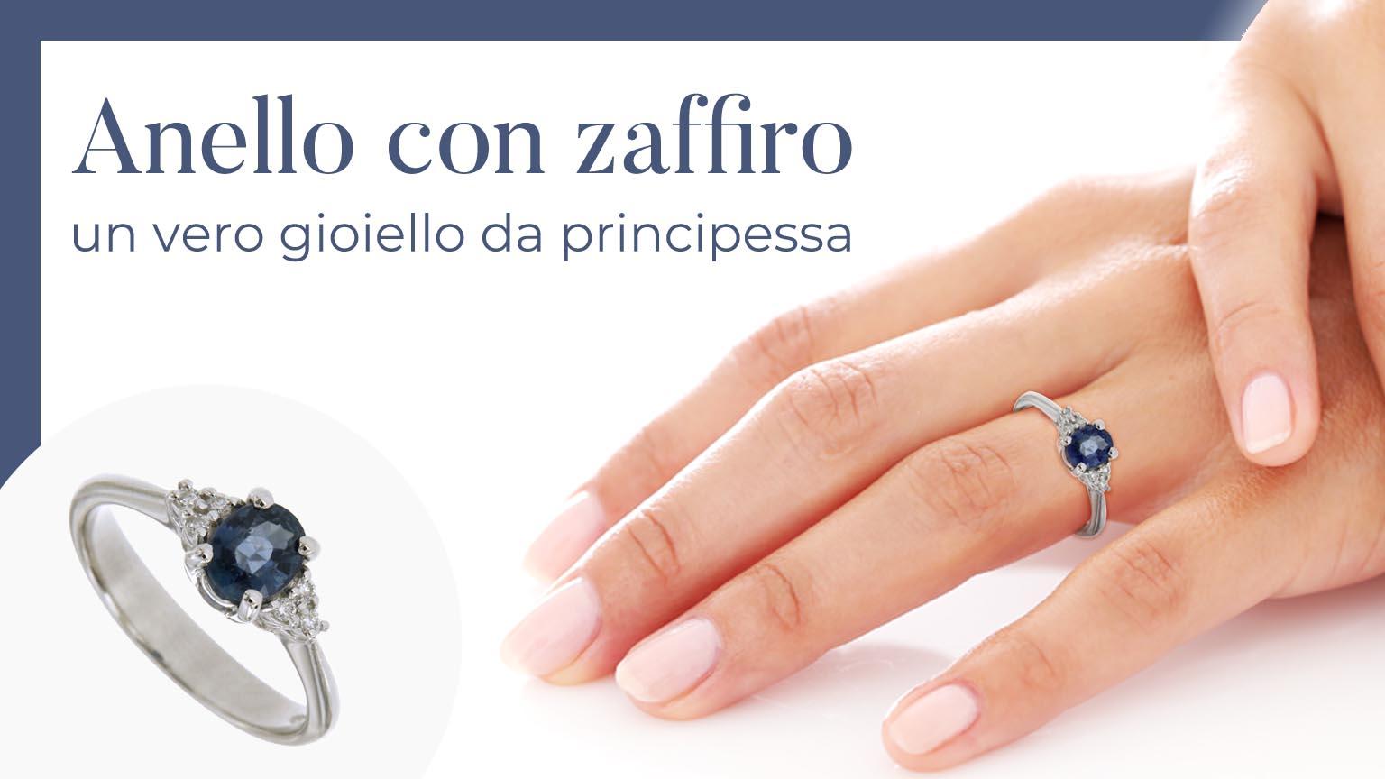 """Donna che indossa un anello con zaffiro e diamanti e montatura in oro bianco 18k della collezione """"Il Bello del Lusso"""": un vero gioiello da principessa!"""