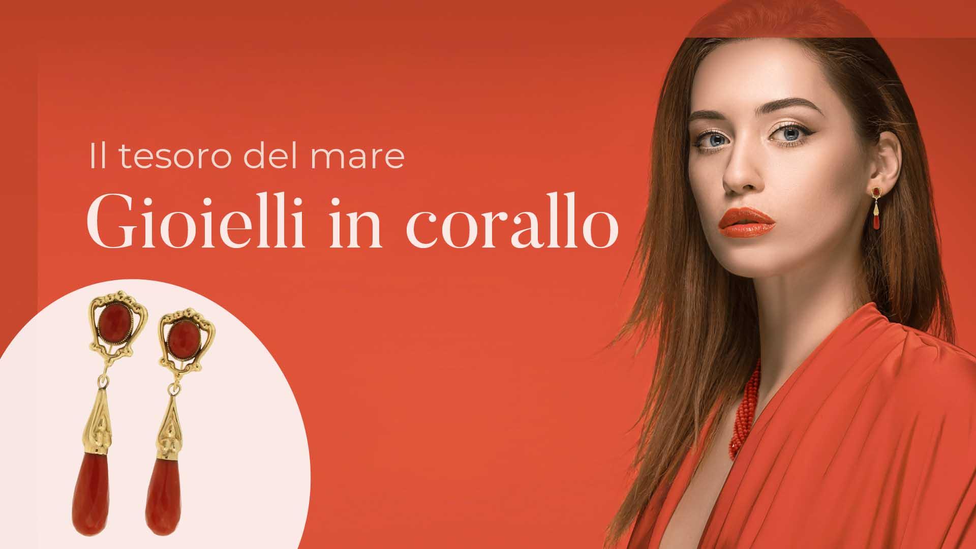 modella vestita di rosso che indossa gioielli in corallo